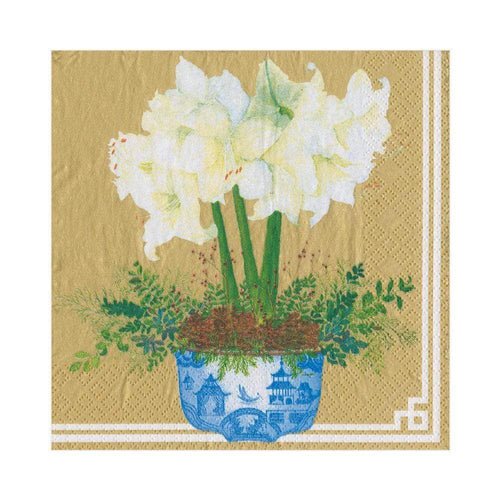 Potted Amaryllis Paper Luncheon Napkins in Gold - 20 Per Package