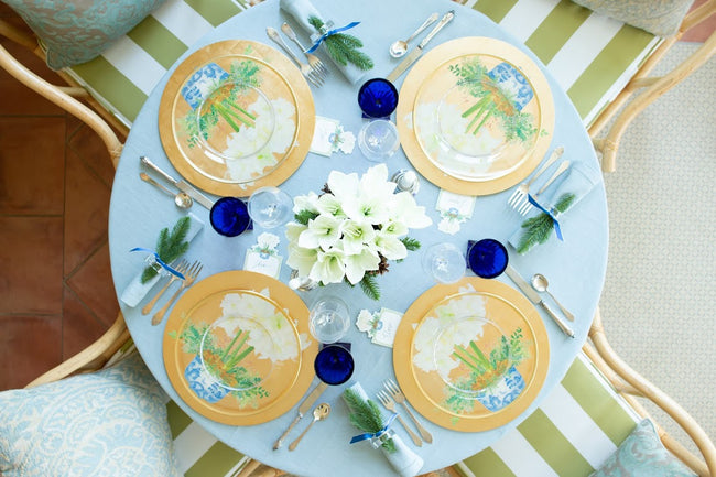 Potted Amaryllis Round Lacquer Placemat in Gold - 1 Each