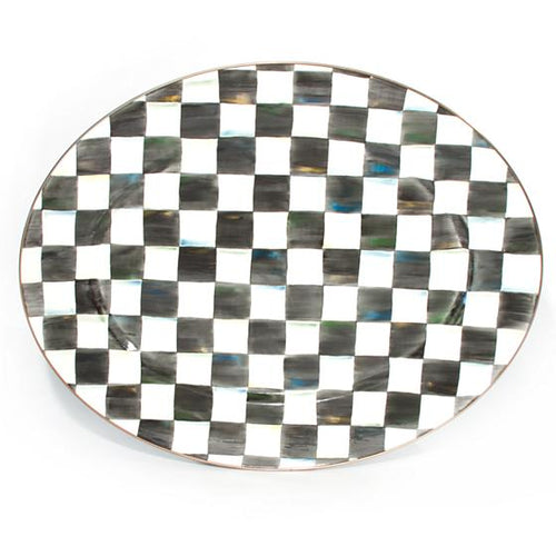 Courtly Check Enamel Oval Platter - Large