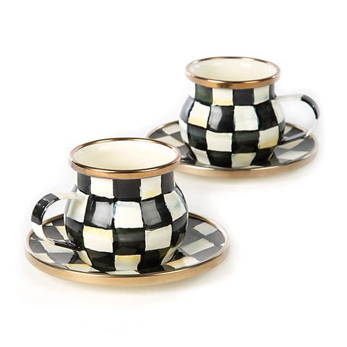 Courtly Check Enamel Espresso Cup & Saucer Set of 2