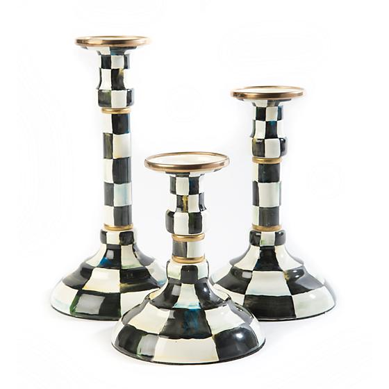 Courtly Check Enamel Candlestick - Mighty