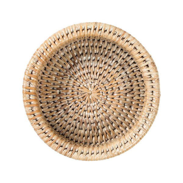 Rattan Wine Bottle Coaster in White Natural - 1 Each