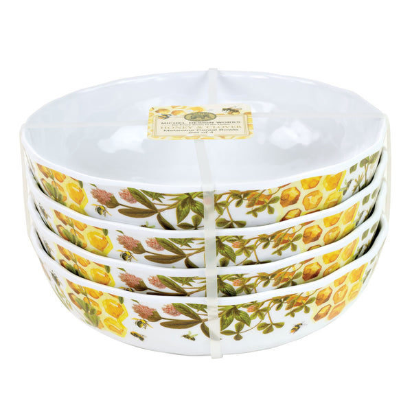 Honey & Clover Melamine Serveware Cereal Bowl Set
