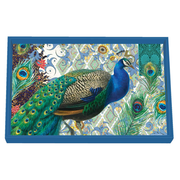 Peacock Decoupage Wooden Vanity Tray