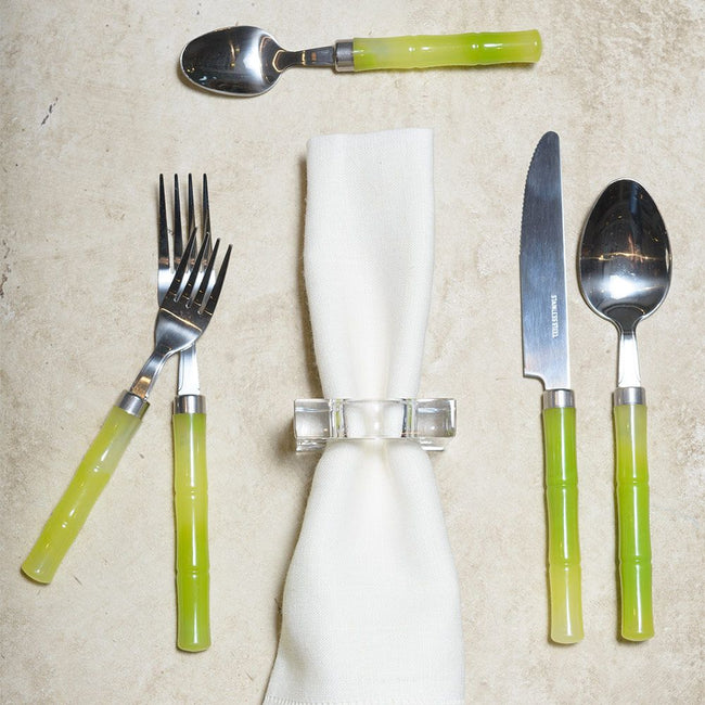 Bamboo Handle 5-Piece Stainless Steel Flatware Set in Green