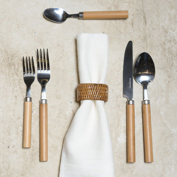 Bamboo Handle 5-Piece Stainless Steel Flatware Set in Natural Wood