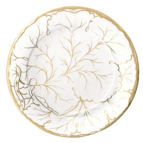 Gilded Majolica Paper Dinner Plates in Ivory - 8 Per Package