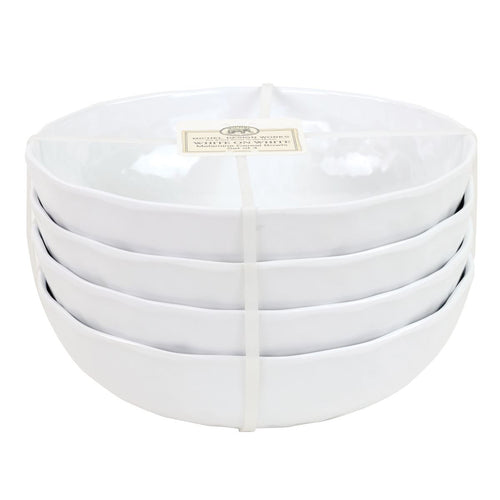 White on White Melamine Serveware Cereal Bowl Set