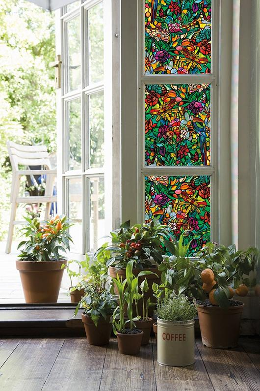 Stained Glass Window Film Decorative Privacy Cling Shower Door Cover