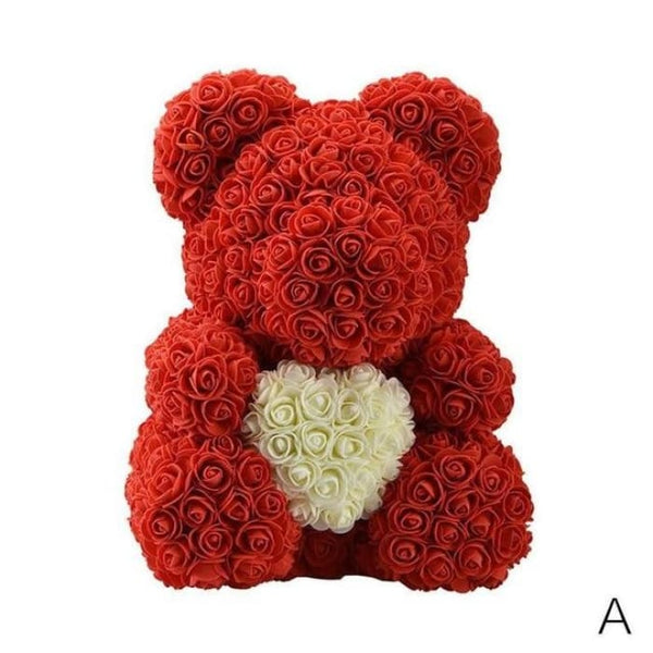 40cm Rose Teddy Bear - Red and White - Stuffed Animals & Plush Toys