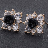 Coloured Crystal Flower Ear Studs (11 Colour Variants) - Black - Earrings