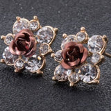 Coloured Crystal Flower Ear Studs (11 Colour Variants) - Brown - Earrings