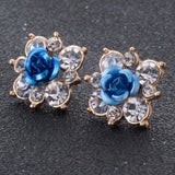 Coloured Crystal Flower Ear Studs (11 Colour Variants) - Dark Blue - Earrings