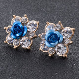 Coloured Crystal Flower Ear Studs (11 Colour Variants) - Earrings