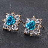 Coloured Crystal Flower Ear Studs (11 Colour Variants) - Light Blue - Earrings