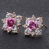 Coloured Crystal Flower Ear Studs (11 Colour Variants) - Pink - Earrings