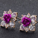 Coloured Crystal Flower Ear Studs (11 Colour Variants) - Purple - Earrings