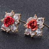 Coloured Crystal Flower Ear Studs (11 Colour Variants) - Red - Earrings
