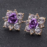 Coloured Crystal Flower Ear Studs (11 Colour Variants) - Violet - Earrings