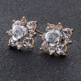 Coloured Crystal Flower Ear Studs (11 Colour Variants) - White - Earrings