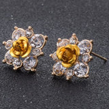 Coloured Crystal Flower Ear Studs (11 Colour Variants) - Yellow - Earrings