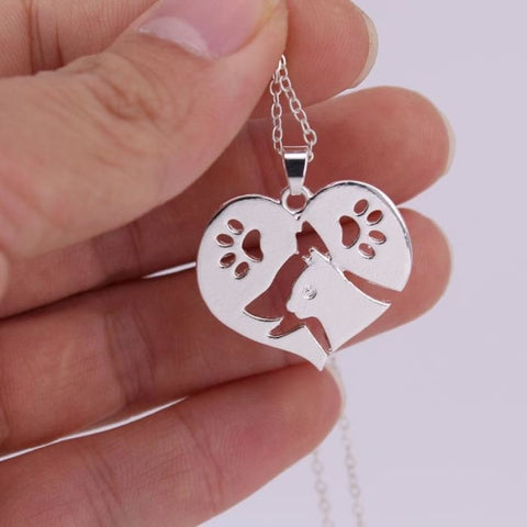 Heart Shape Cat and Dog Necklace - Necklace