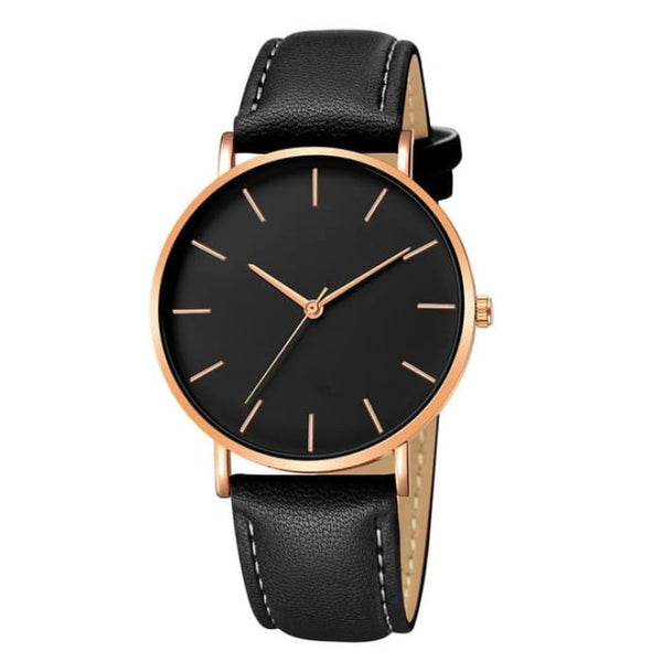 Mens Black Quartz Synthetic Leather Watch (3 Variations Available) - Copper Bezel - Watches