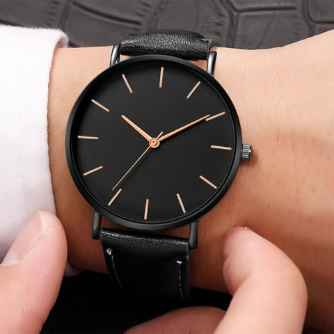 Mens Black Quartz Synthetic Leather Watch (3 Variations Available) - Watches