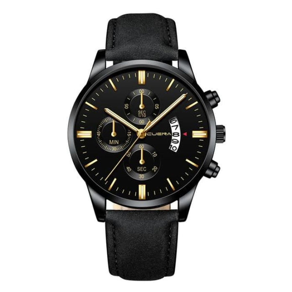 Mens Stainless Steel Case Leather Band Chronograph Wristwatch (3 Variations Available) - GY - Watches