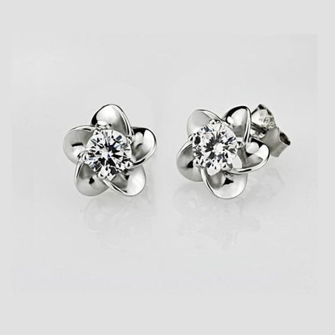 Silver Zircon Flower Ear Studs - White - Earrings