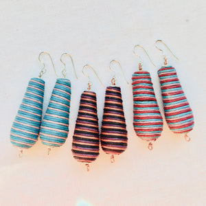 Stripe Earrings, cotton cloth thread, textile bead jewelry, multicolor