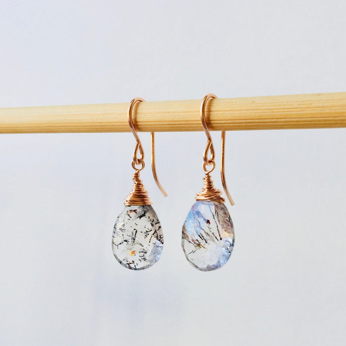 Clear veined teardrop stone earrings, moss amethyst, rose gold hooks, handmade jewelry