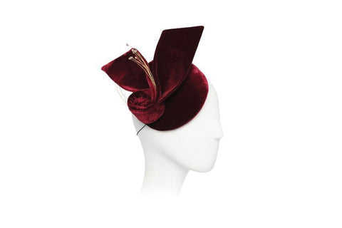 Lolla Silk Velvet Fascinator | Ophelie Hats Shop Custom Made Felt Hats Montréal Canada