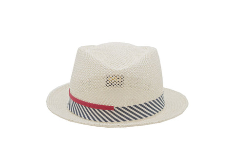 Nautical Straw Trilby Hat | Ophelie Hats Shop Custom Made Felt Hats Montréal Canada