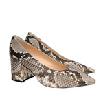 Pointed Toe Block Heel Pump (Python)