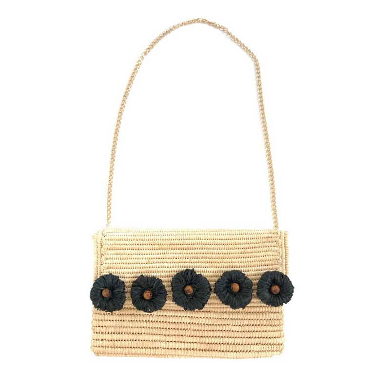 Woven Clutch with Black Raffia Flowers