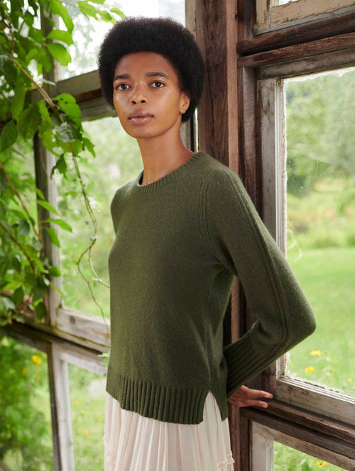 Pointelle Crew Neck Sweater (Khaki Green)