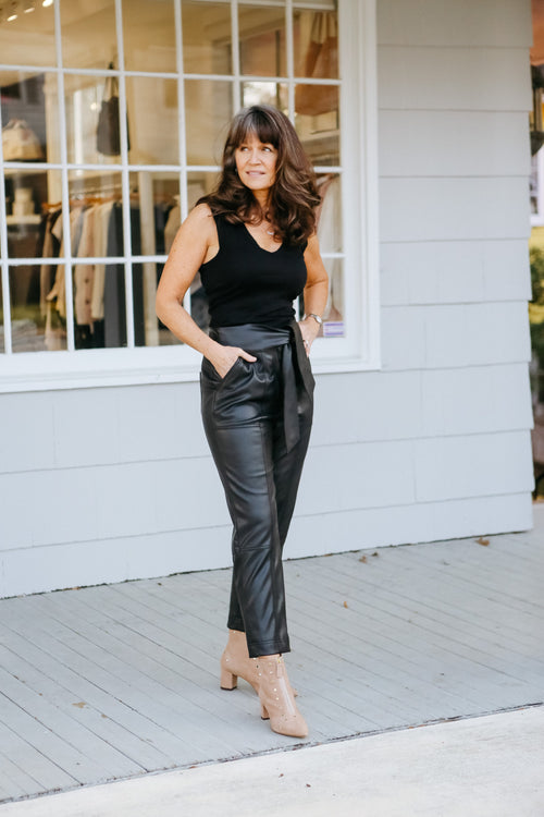Tessa Vegan Leather Tie Waist Pant (Black)