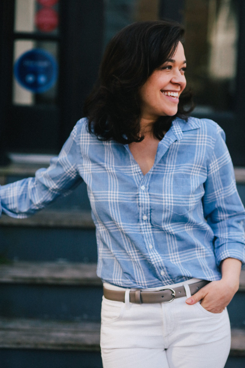 Barry Button Down Shirt (Large Slate Blue Plaid Linen)