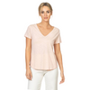 Short Sleeve V-Neck Tee (Pale Blush)