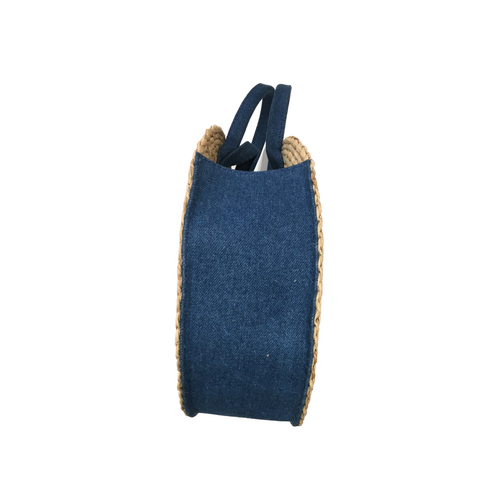 Morgan Large Straw and Denim Circular Tote