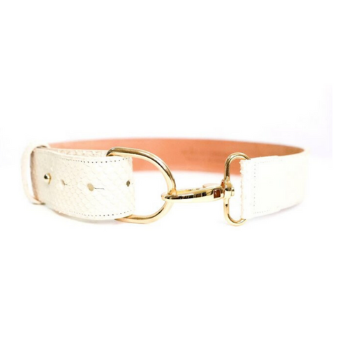 Matte white python adjustable belt with gold bit buckle.