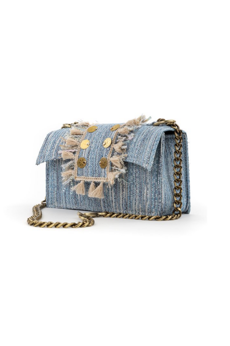 Soho Tweed Shoulder Bag (Sky Blue)