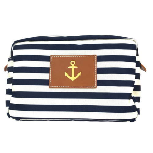 Blue and White Stripe Pouch with Anchor