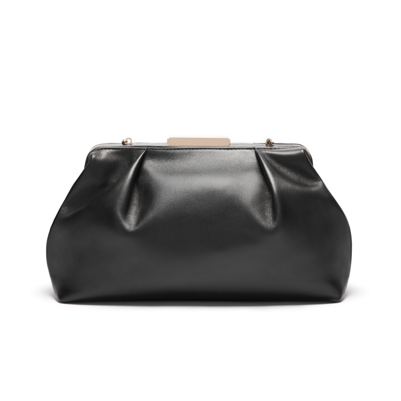 Florence Black Smooth Frame Clutch
