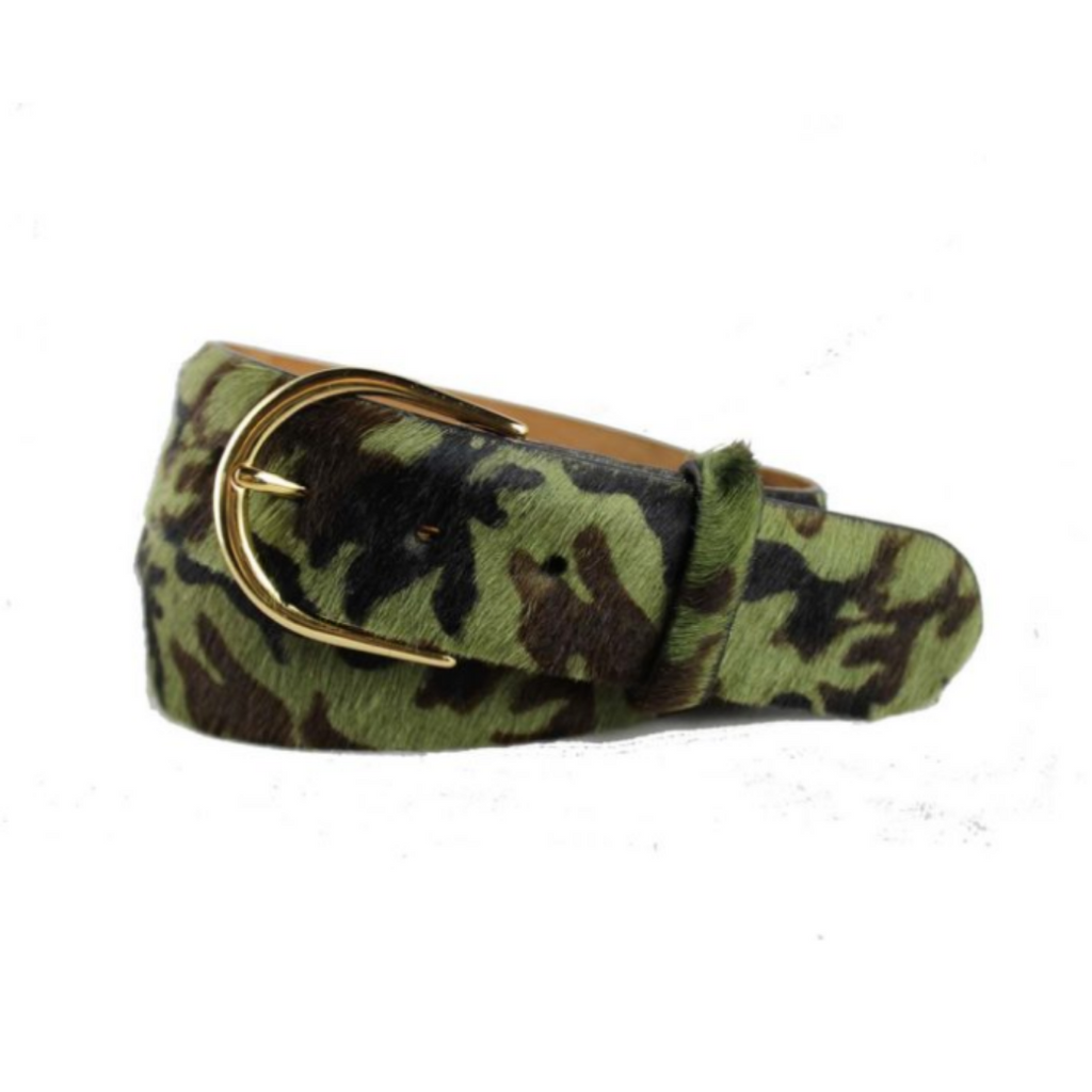 Camo Calf Hair Belt with Gold Buckle