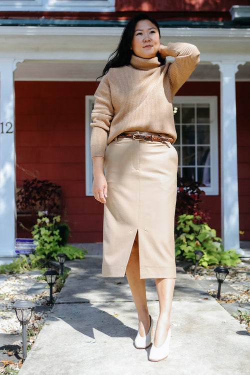Camel Stretch Flannel Midi Skirt