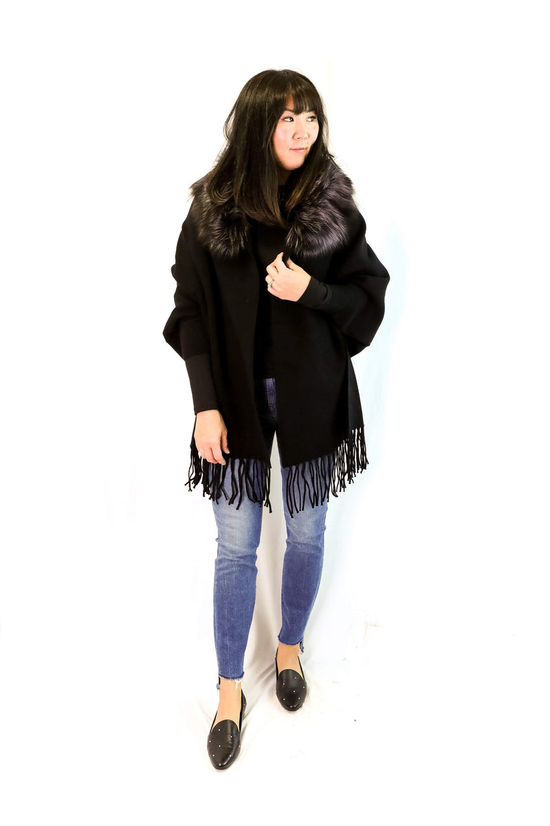 Cashmere Blend Cape with Sleeves (Black)