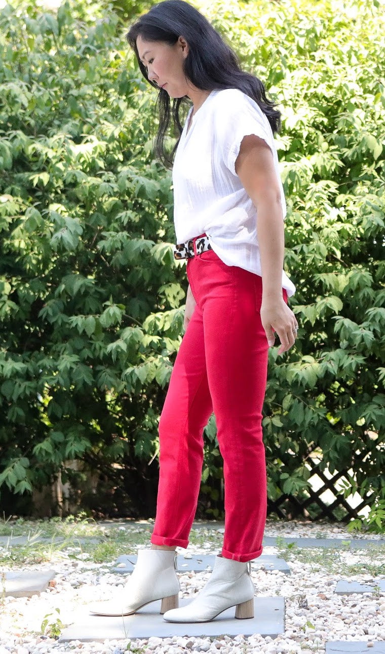 The Mid Rise Dazzler Ankle Denim (Mars Red)