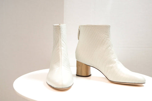 Bone Leather Boot with Wood Heel